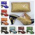 2017 Most Popular African Shoes And Matching Bags Italian Fashion Matching Shoes And Bag For Evening Party Gold Color Size 37-43