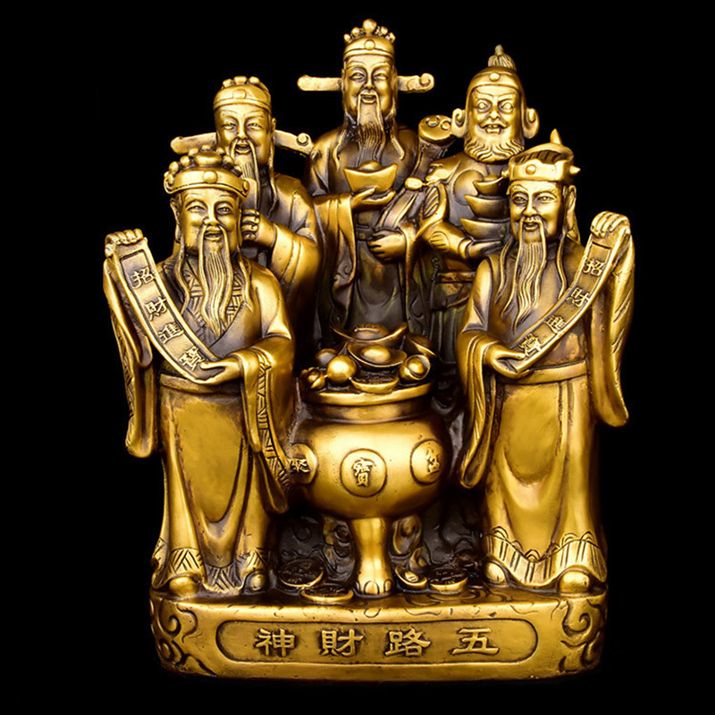 Chinese Feng Shui brass copper God of wealth Buddha statue Five way Fortuna treasure Lucky Home Decoration