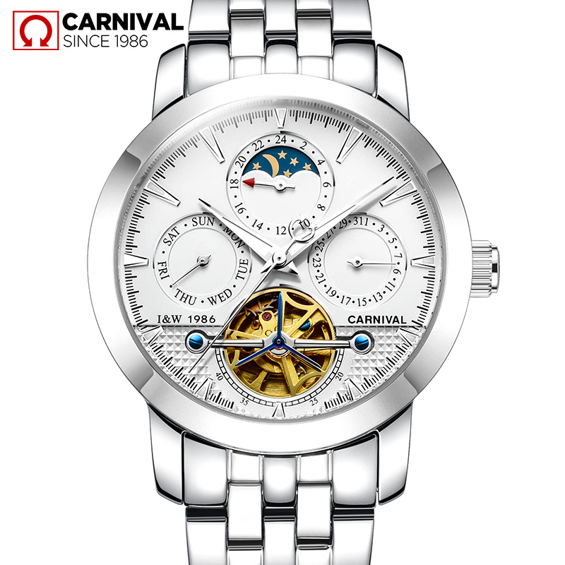 Fashion tourbillon watch men Moon Phase silver Stainless steel Automatic mechanical Sapphire waterproof watch relogio masculino fashion watch men power reserve silver stainless steel automatic mechanical sapphire waterproof white watch relogio masculino