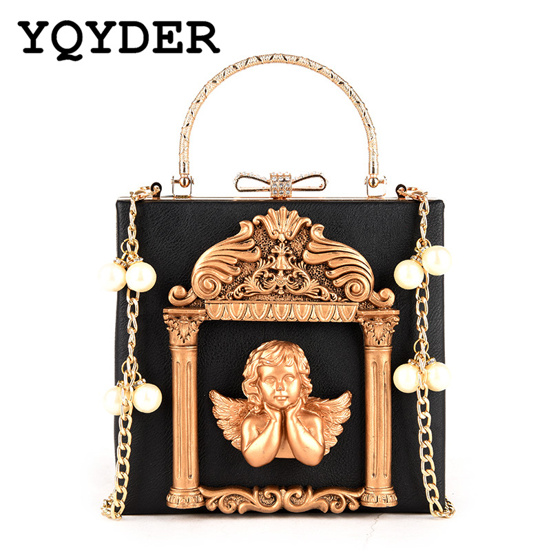 Metal Beading Women Tote Bag Baroque Angel Mini Handbags Luxury PU Leather Shoulder Bags Vintage Chains Messenger Bag Sac A Main metal ring pu leather tote bag