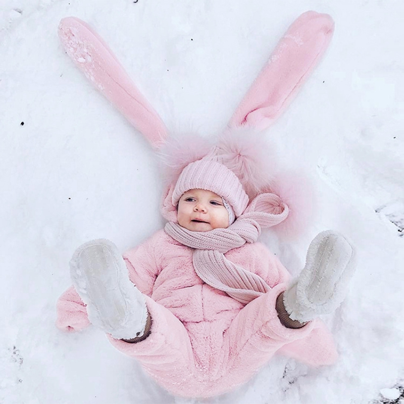 2017 New Cute Big Ear Baby Rompers Cartoon Rabbit Infant Girls Boys Velvet Jumpers Kids Baby Outfits Clothes Chlidren Clothing