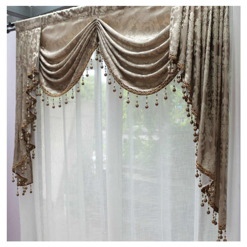 Luxury Valances Swag Curtains for Living Room Jacguard European Style  Pellments Dropping Window Treatmants 1 piece Custom Tassel