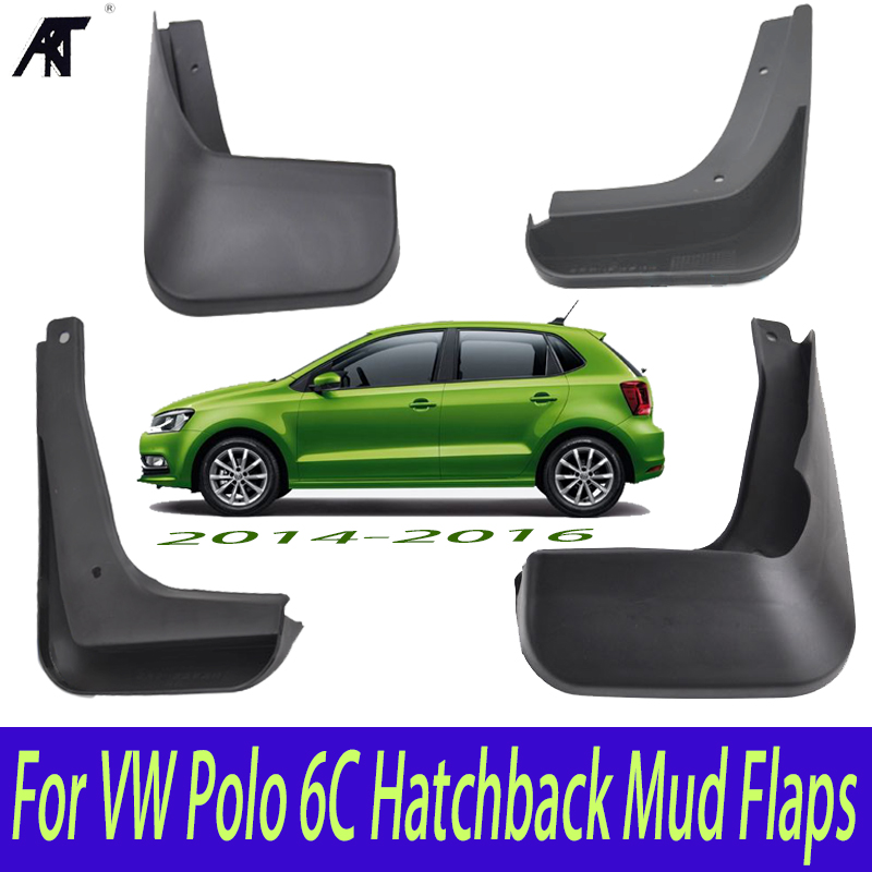 Set Molded Mud Flaps For VW Polo 6C Hatchback 2015 2016 Polo Mudflaps Splash Guards Front