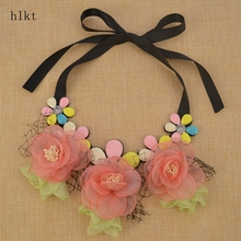 hlkt The New high-grade fabric flowers, fashion necklace, the latest design, women's clothing wholesale