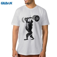 GILDAN Man Gorilla Lifting Weight Cotton Printed T Shirt Round Neck Man Tee Shirt