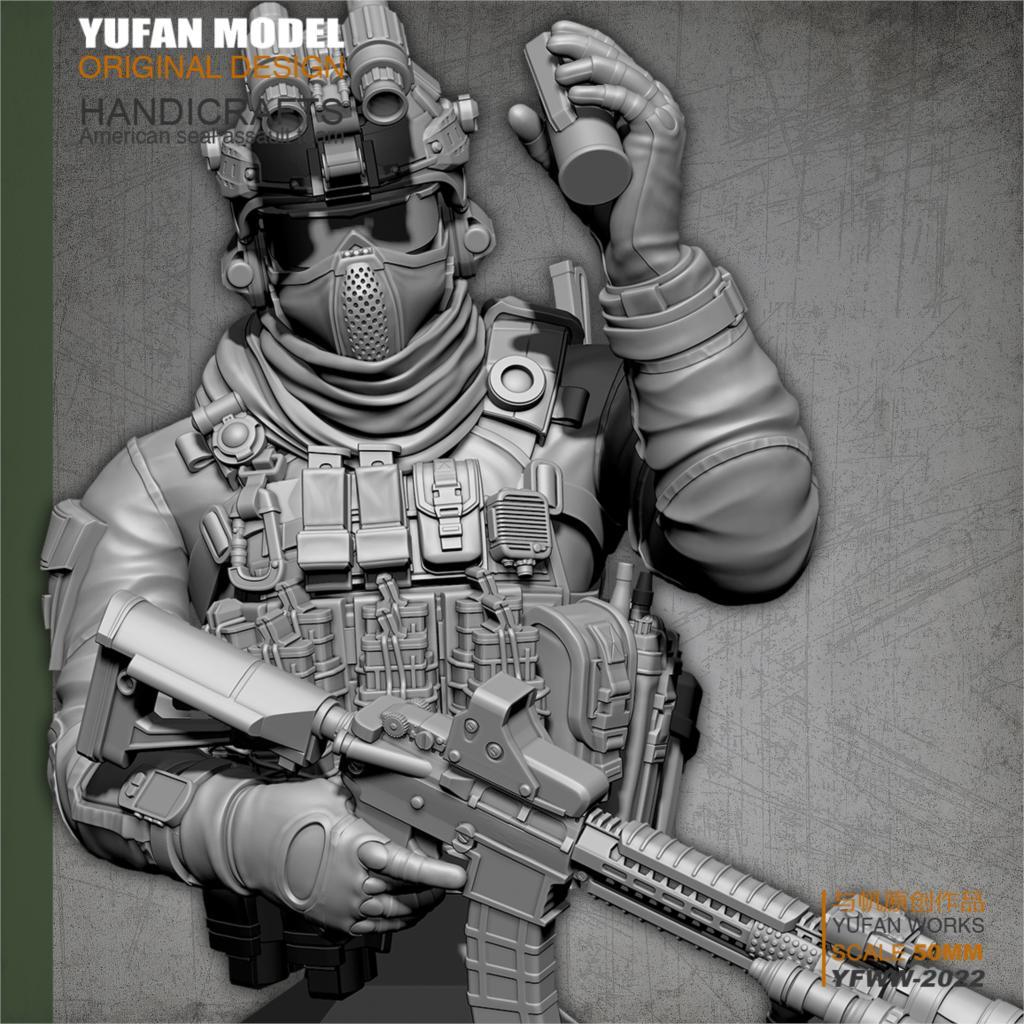 YuFAN Model /18 Resin Kits  American Commando, Resin Soldier, Bust  YFWW-2022