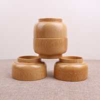 Wholesales 100 pcs/lot Natural Wooden Bowl Containers Bamboo Kitchen Mixing Bowl Soup Noodle Rice Dinner Dishes For Children