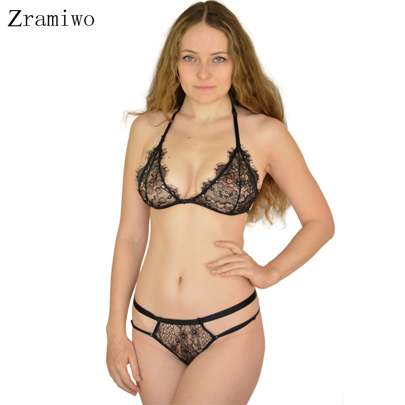 16ad97f595f Zramiwo Sexy Bra Set Lace Halter Bralette Top and Transparent Panties Sheer  Lingerie Sets Soft Underwear