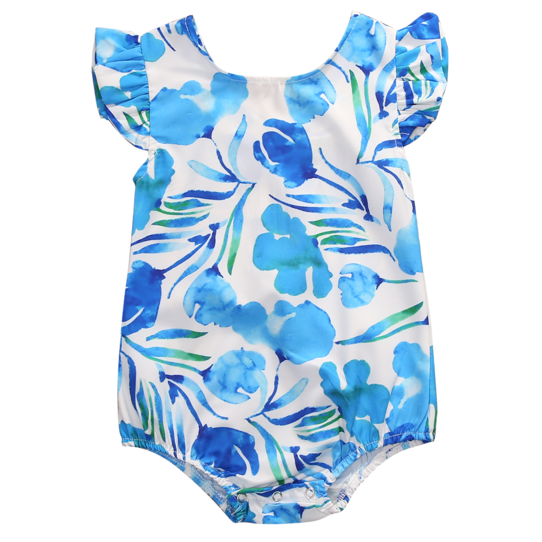 Lovely Newborn Baby Girls Floral Romper Clothes Ruffles Sleeve Zipper Rompers Playsuit Toddler Kids Jumpsuit Outfit Sunsuit fashion 2pcs set newborn baby girls jumpsuit toddler girls flower pattern outfit clothes romper bodysuit pants