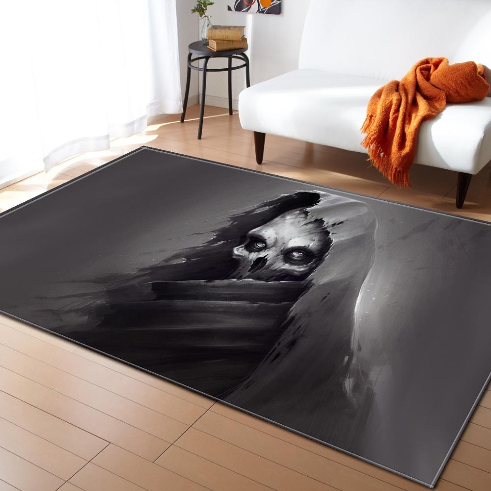 Nordique Halloween 3D crâne tapis partie décorative enfant chambre jouer Pad bébé ramper flanelle jeu tapis tapis salon R618