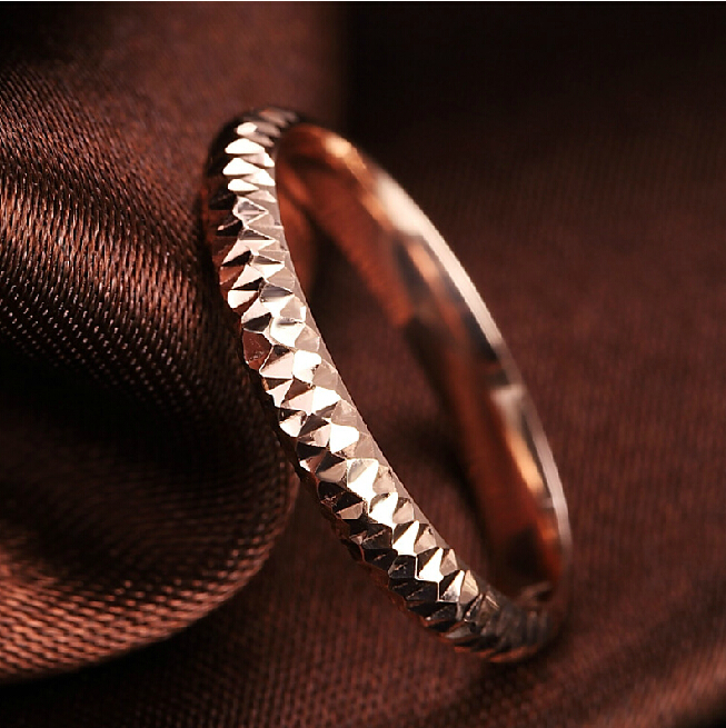 AU750 Rose gold Band Ring Full Star Ring US SIZE 5 pure au750 rose gold love ring lucky cute letter ring 1 13 1 23g