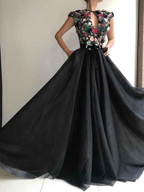 Zwarte Moslim Avondjurk Kant A-lijn Bloemen Kralen Islamitische Dubai Saudi Arabische Lange Elegante Avondjurk Lange Prom Dress