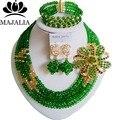 2017 Мода африканские бусы комплект ювелирных изделий зеленый Нигерии Свадебные Кристалл ожерелье, Свадебные Украшения, наборы Бесплатная доставка ВВ-024