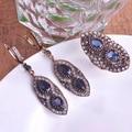 Gitana Turco Aretes y Anillo de Conjuntos de Joyas de Resina Oval de La Vendimia de Bohemia del Estilo Étnico Retro Beads Antique Gold Party Mujer Bijoux