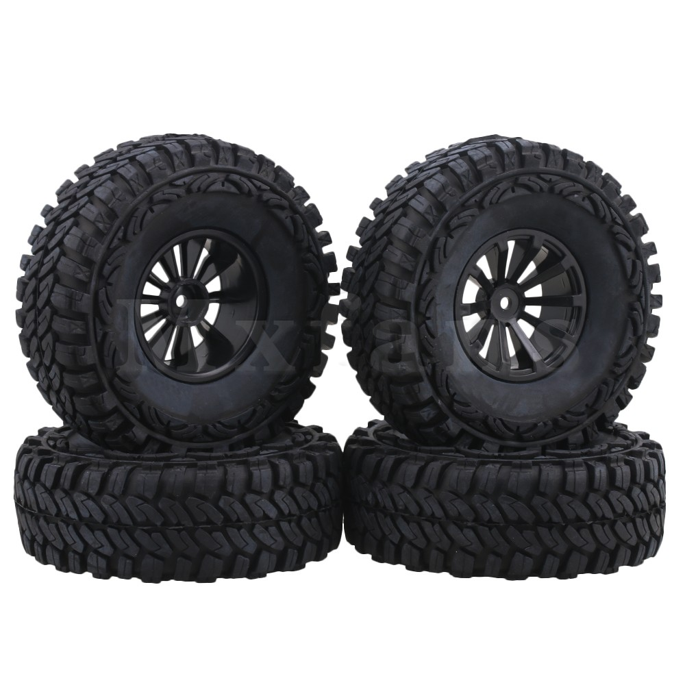 Mxfans 1 9 inch Black Plastic Wheel Rims 115mm OD Rubber Tires for RC1 10 Rock