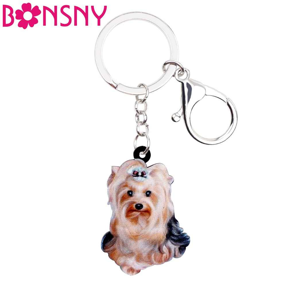 Acrylic Yorkshire Terrier Dog Car KeyChain For Women Girl Purse Bag Jewelry Gift