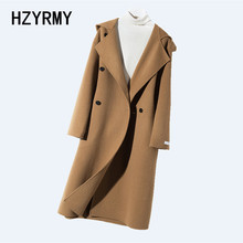 HZYRMY Winter New Women's Cashmere Double-Faced Woolen coat Loose Hooded Collar High Quality Thick Coat Wool Fabric Female Coat
