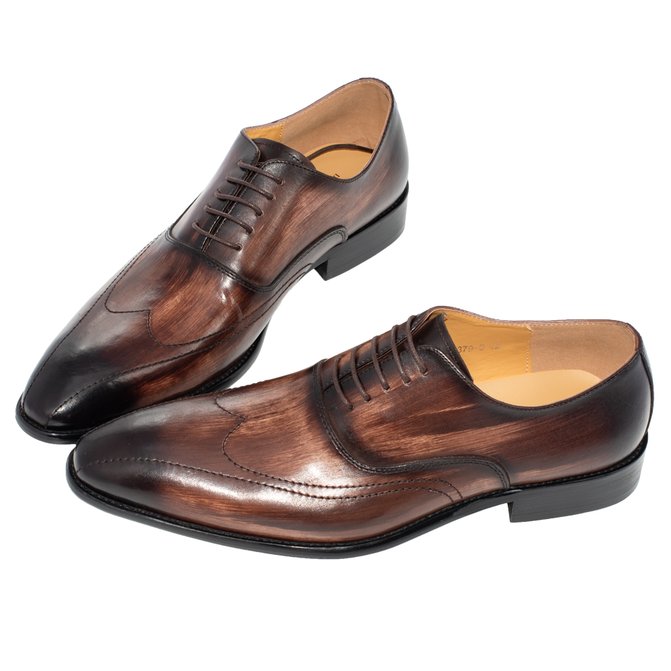 Men Shoes Genuine Leather Pointed Toe Handmade Office Business Mixed Coffee Color Luxury Wedding Dress Formal Oxfords Men's Shoe