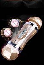 Электрический мастурбатор реалистичный влагалище Водонепроницаемый автоматический киска секс-машина оральный Мужской вибрационный Masturbator чашка секс-игрушка для Для мужчин