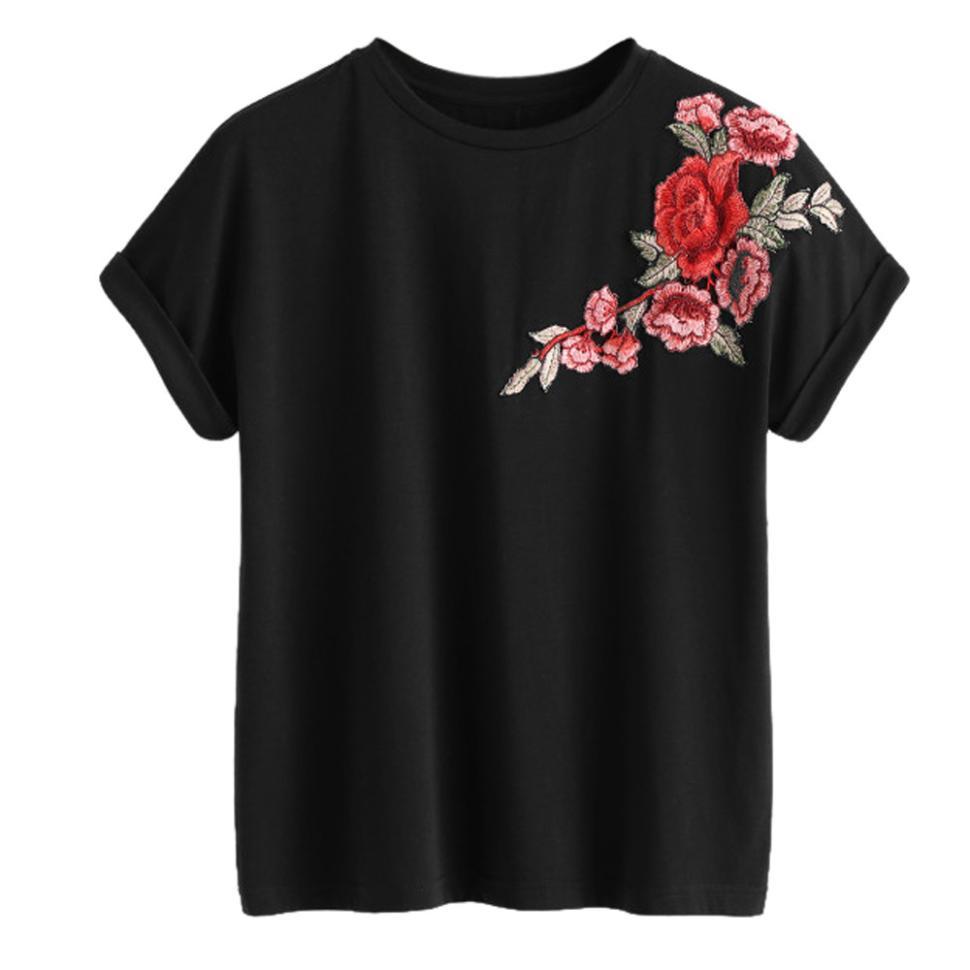 Женские футболки с круглым вырезом и цветочной нашивки, футболка для девочек, женский летний топ с розами, женская одежда, черные топы, Feminino2 #442