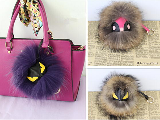 Latest Fashion Fur Accessories Genuine leather Money Bag Pendant Large Rabbit raccoon Fur Ball little monsters Pendant  Keychain