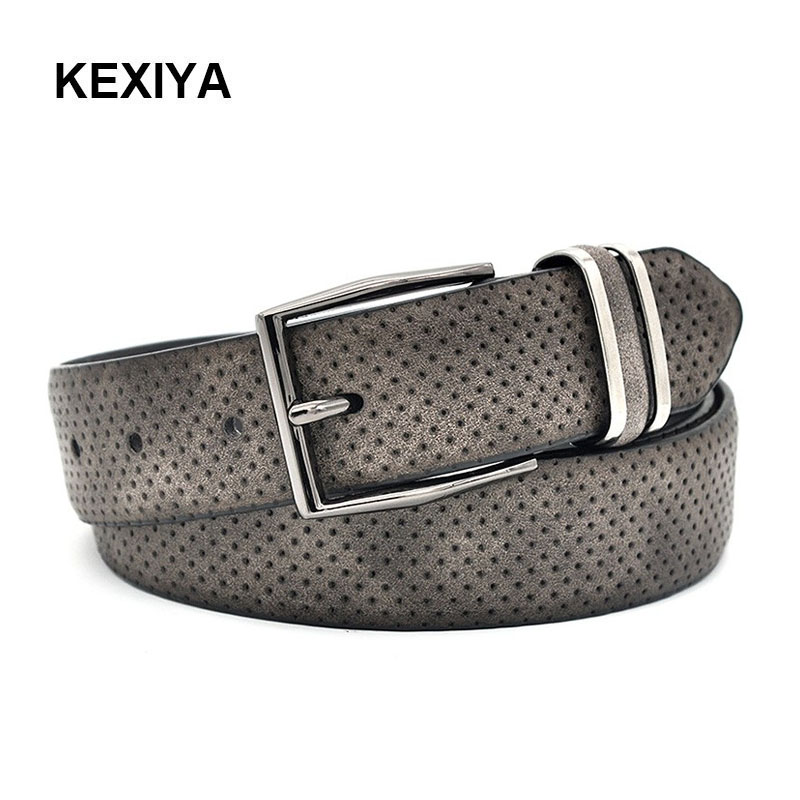 KEXIYA designer men   belt   gun metal buckle leather casual men luxury high quality fashion accessories dark gray jeans   belt