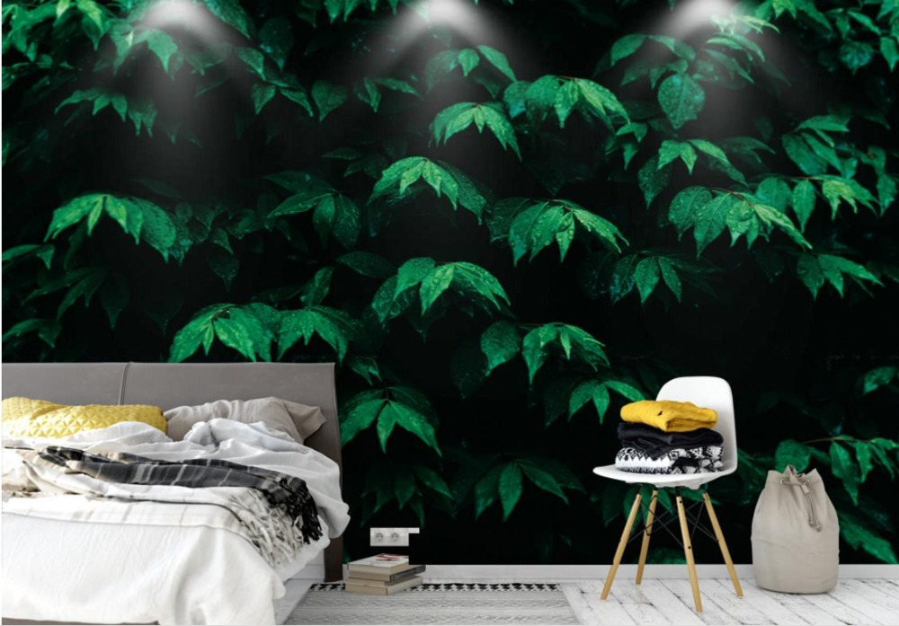 Leaves Nature Wallpaper Murals Wall paper For Kids room Living room Bedroom Modern Minimalist TV Backdrop abstract fashion ceiling murals wallpaper dynamic lines wall paper for kids room living room bedroom ktv hotel 3d ceiling murals