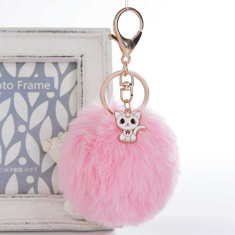 Lucu Kucing Putih Gantungan Kunci Pom Avengers Gantungan Kunci Perhiasan Fur Ball Kunci Rantai Berbulu Pom Pom Gantungan Kunci untuk Mobil tas