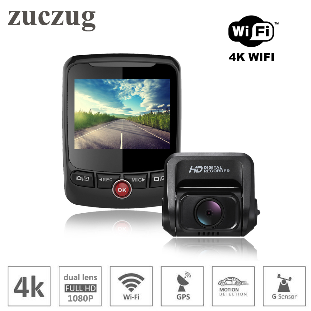 Zuczug wifi voiture enregistreur vidéo 4 k dash caméra double objectif pour avant et arrière double full hd 1080 P avec gps enregistreur voiture dvr