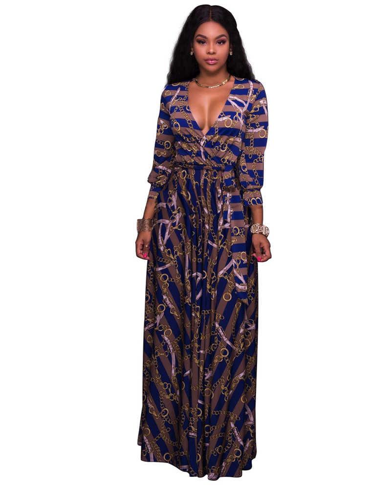 b97d449521a90 Adogirl Trendy Striped Chain Print Women Maxi Dress Sexy Deep V Neck Long  Sleeve Belts Slim Casual Dresses High Quality Vestidos