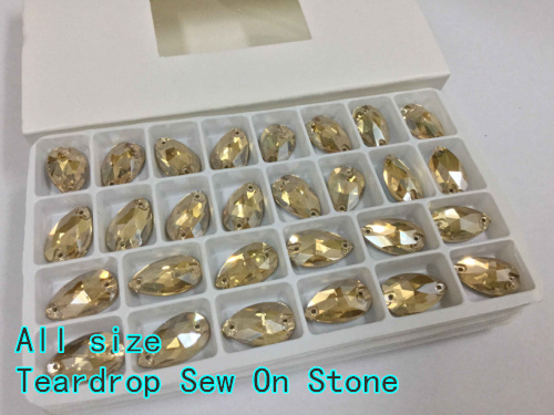 Gold Shadow Color Teardrop sew on buttons Silver base crystal glass stone 2holes.7x12mm 11x18mm 13x22mm 16x25mm 17x28mm 22x38mm