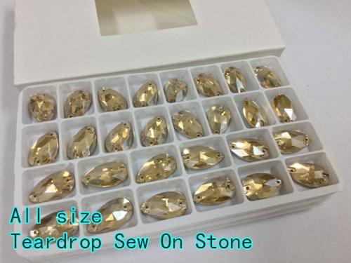 Ouro Sombra Cor Teardrop sew na pedra 2holes botões de vidro de cristal base de Prata. 7x12mm 11x18mm 13x22mm 16x25mm 17x28mm 22x38mm