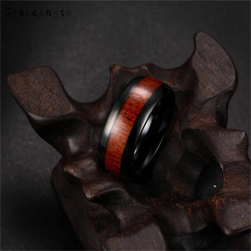 Hommes anneaux titane acier bois mosaïque personnel hommes anneau 100% réel carbure de tungstène anneau hommes de mariage anneau rétro fête cadeau haut