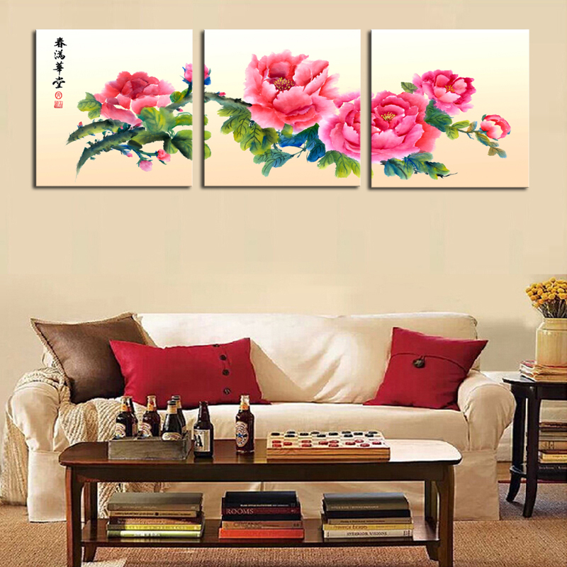 Large Wall Pictures For Living Room: Unframed 3 Sets Canvas Painting Red Chinese Style Flowers