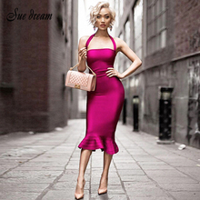 2019 New  Beige Wine Red Halter Fishtail Autumn  Women Evening Party Bandage Dress Off Shoulder Backless Party Christmas Dress