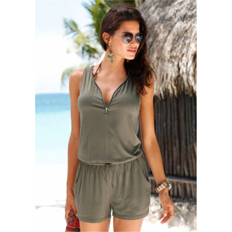 Summer Jumpsuit 2020 Women Playsuit Jumpsuit Casual Sexy Lady Sleeveless Solid Romper overall
