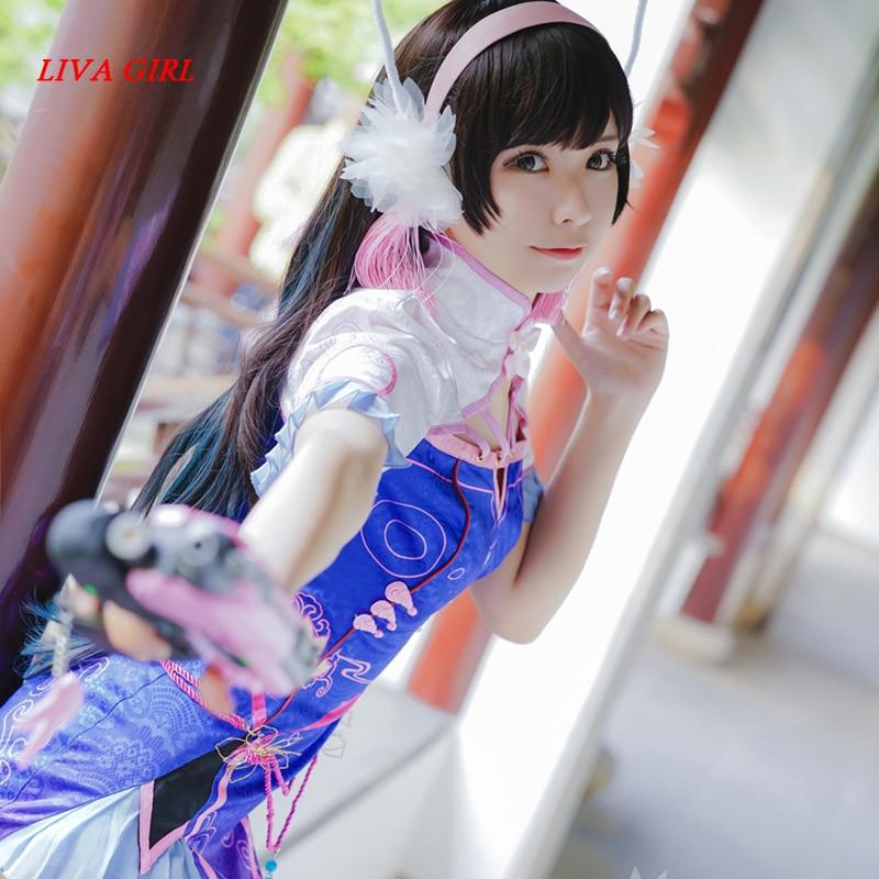 D.VA OW Cheongsam Qipao Uniforms Cosplay Costume Free Shipping ...