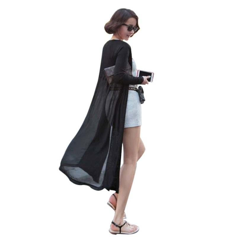 Korean Style Sunscreen Cardigan Shawl Long Sweater Coat Women Modal Chiffon Stitching Long Sleeve Sweaters Cardigan LM57