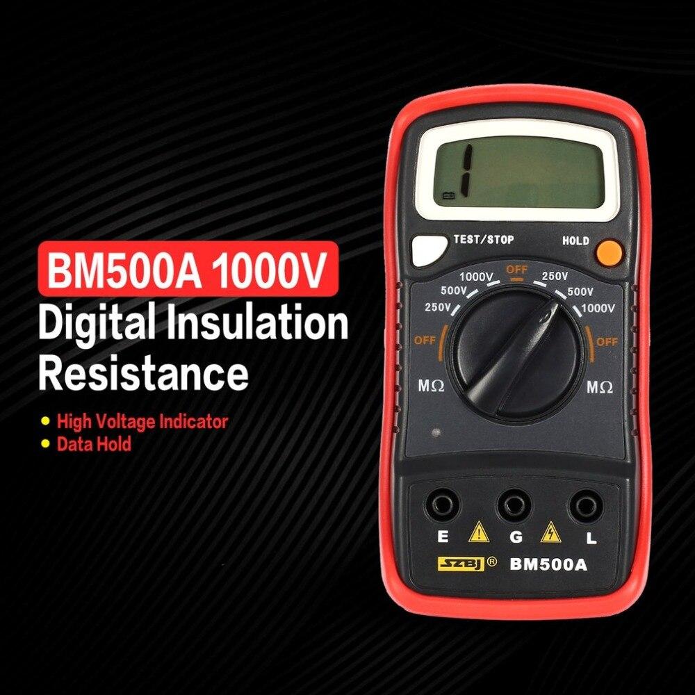 NewBM500A numérique Megger 1000V gamme automatique résistance d'isolation ohm mètre testeur megohmmètre multimètre voltmètre indication de LED