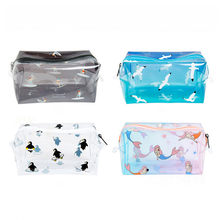 Mermaid Print Transparent Waterproof Makeup Make Up Cosmetic Bag Travel Wash Toothbrush Pouch Toiletry Organizer Bag Tools(China)