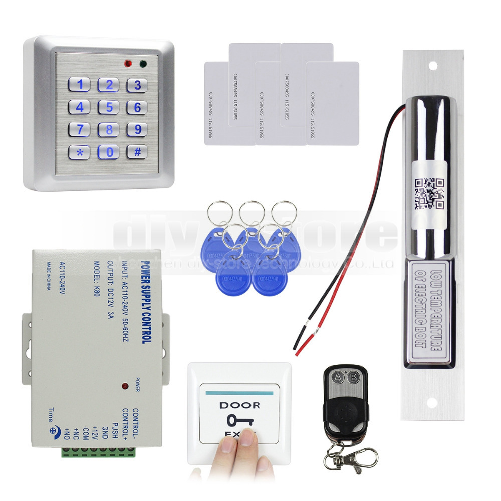 DIYSECUR Waterproof RFID 125KHz Keypad Access Control Security System Full Kit Set + Electric Bolt Lock For House / Office W4 diysecur rfid metal case keypad door access control security system kit electric bolt lock power supply 7612