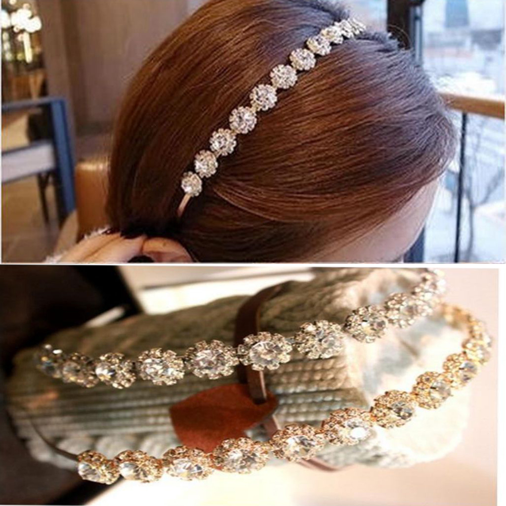 Women's Glitter Sparkle Rhinestone Jeweled Head Band Wedding Bridal Hairband Crown Headwear Shiny Crystal Hair Accessory