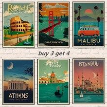 Póster Retro Vintage de viaje de Londres/Roma/NUEVA York/Venecia/Estambul/Tailandia/havana, adornos de pared de papel Kraft, Bar, regalo de decoración del hogar, 1003