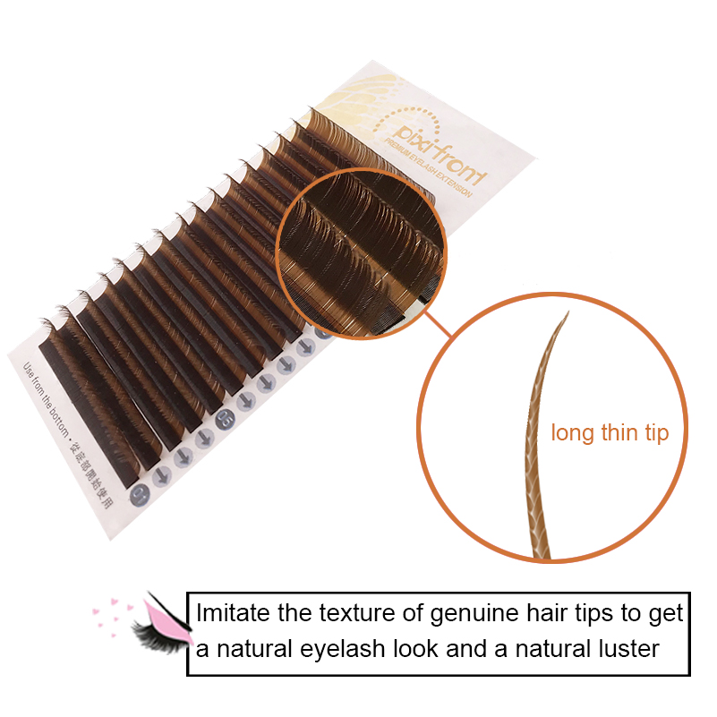 PIXIFRONT Soft Brown Eyelash,all Size7~15mm Eyelash Extension, Brown Individual Lashes,3D Eyelashes.Faux Mink False Eyelashes