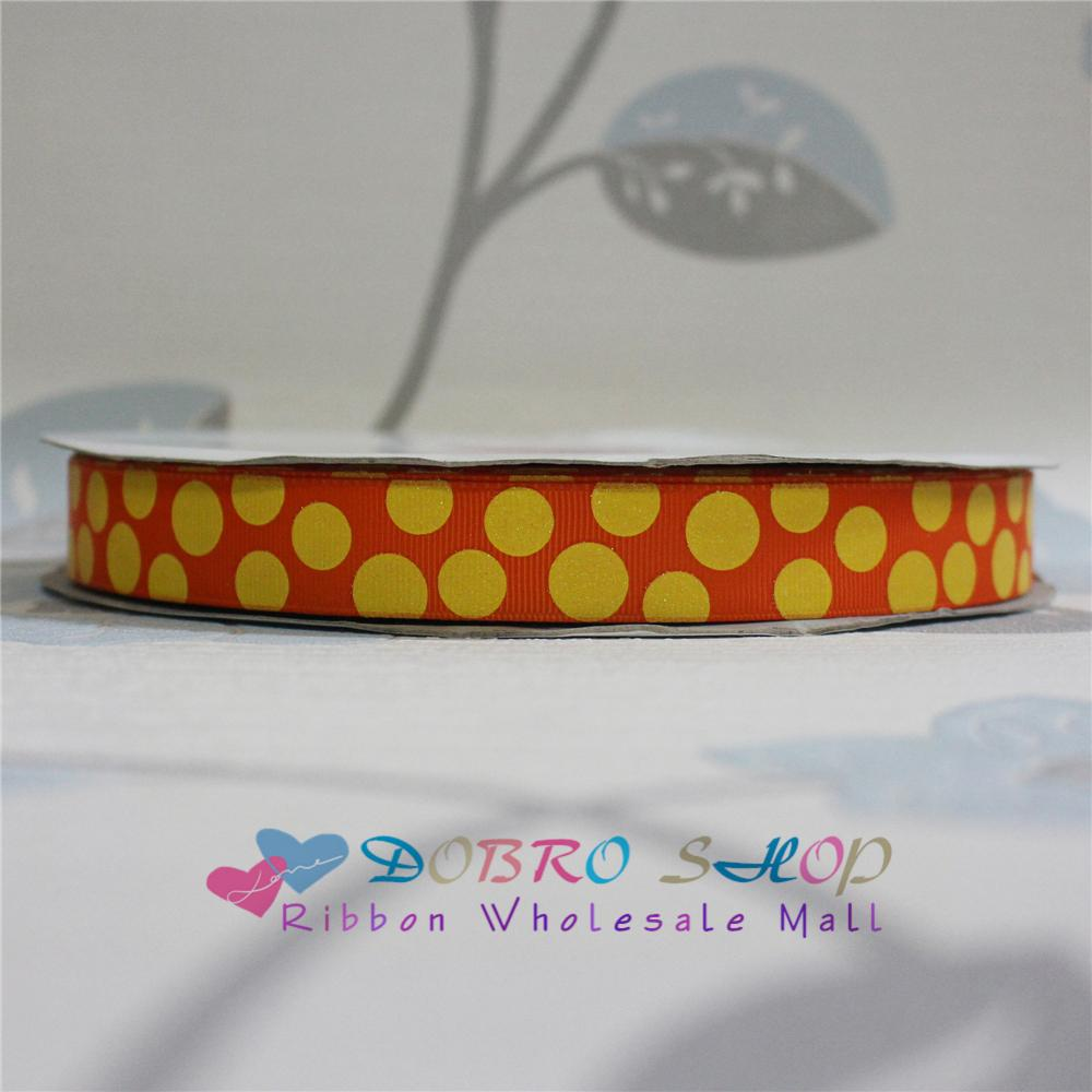 Sale 7/8 22mm Orange with Glitter Dots Printed Grosgrain Ribbon for Crafts,Party/Tree Decorations,Gift Packaging,100 Yards