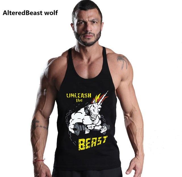 Men Workout Tank Tops Unicorn Print Men O-Neck Cotton Fitness Vest Bodybuilding Muscle Tank fitness Tank Top men stringer tops