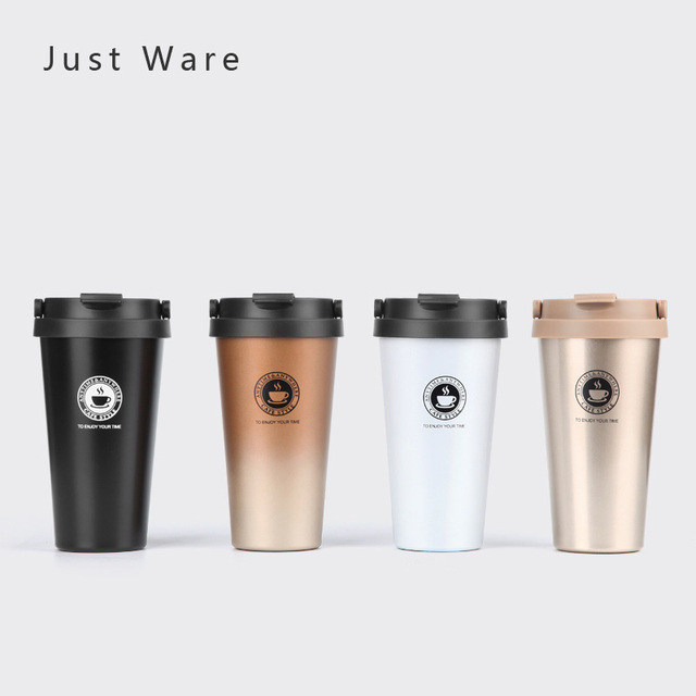 Justware Vacuum Insulated Travel Coffee Mug Stainless Steel Tumbler Sweat Free Tea Cup Thermos Flask Water