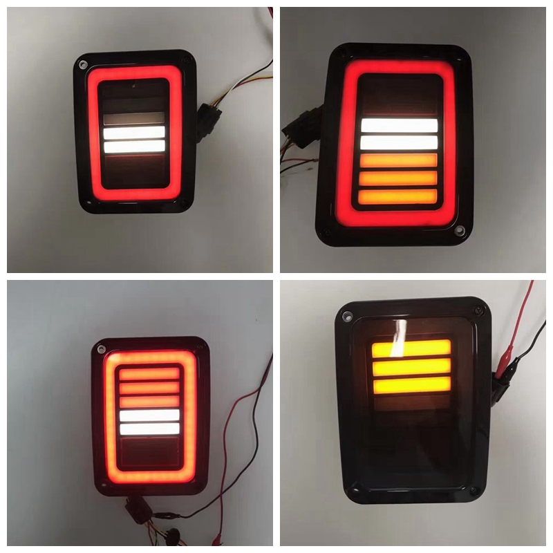 USA/EU LED Taillights For 2007-2016 Jeep Wrangler with Running Brake Backup Reverse Turning Signal Light Tail Lamp Assembly 2pcs brand new high quality superb error free 5050 smd 360 degrees led backup reverse light bulbs t15 for jeep grand cherokee