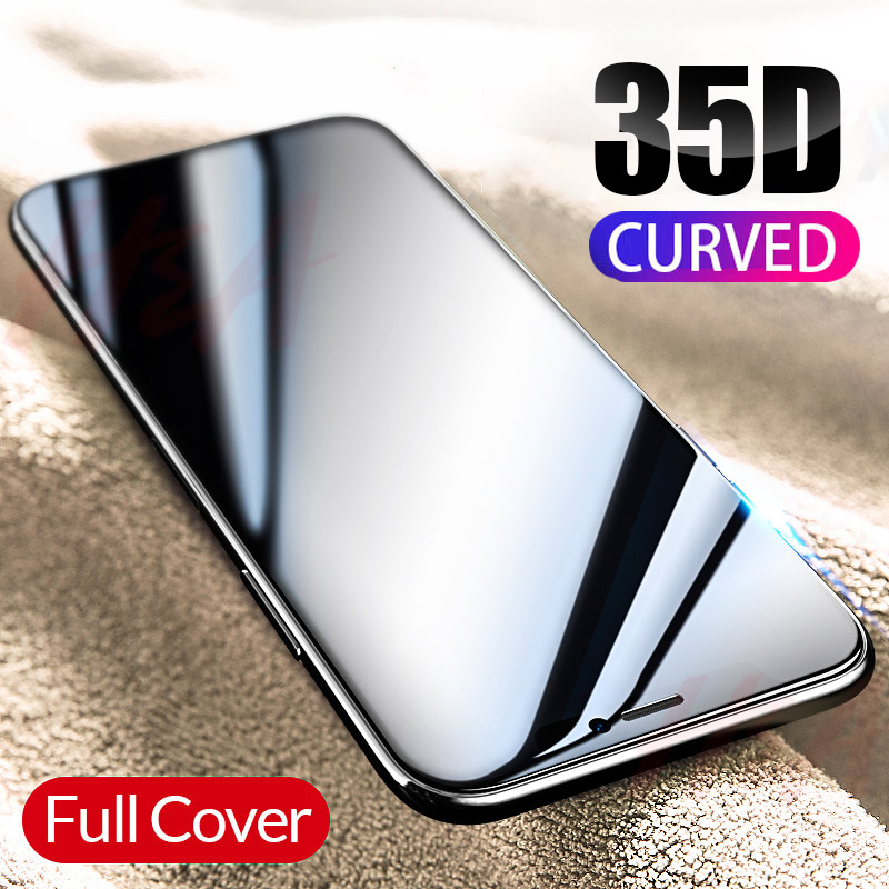 35D Curved Edge Full Cover Protective Glass On The For iPhone 7 8 6 6S Plus Tempered Screen Protector For X XR XS Max Glass Film(China)