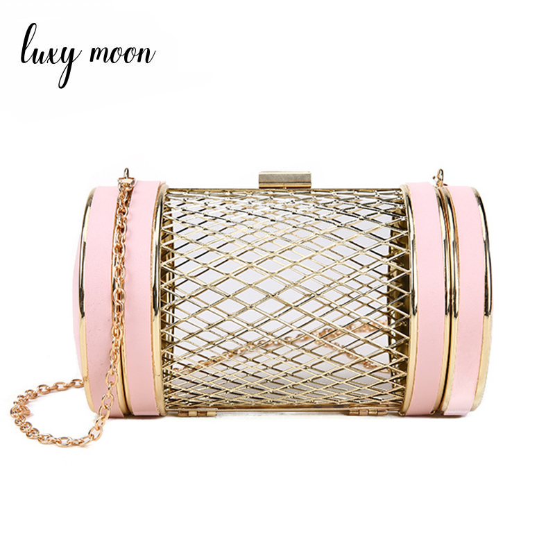 Luxy Moon Metal Net Women Handbag Hollow Out Ball Shape Clutch Personality Party Evening Bag Chain Shoulder Messenger Bag Purse delicate faux pearl hollow out ball shape necklace for women